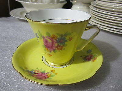 Royal Grafton Fine Bone China Cup & Saucer Yellow Floral  Cabbage Rose Gold Trim