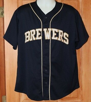 82afb9ad24d Vintage Milwaukee Brewers Majestic Jersey Xl Blue Sewn Blank Back Polyester  2Xl