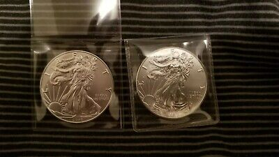 Lot of 2 - 2018 $1 1oz Silver American Eagle 0.999 BU