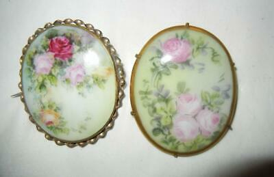 "(2) Antique 2 1/4"" Hand Painted Roses On Porcelain Ladies Brooches Brooch"