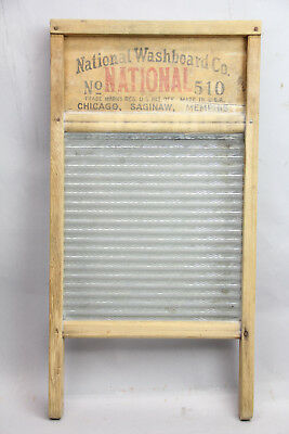 Antique Atlantic 510 Washboard Glass Advertising Wood Primitive Decor Nice One