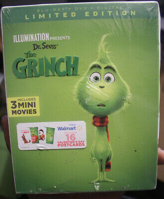 The Grinch Illumination (Blu ray DVD Digital) Walmart Exclusive BRAND NEW SEALED
