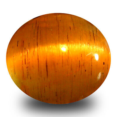 2.95 ct AAA  Oval Cabochon Shape (9 x 8 mm) Honey Brown Green Apatite Cat's Eye