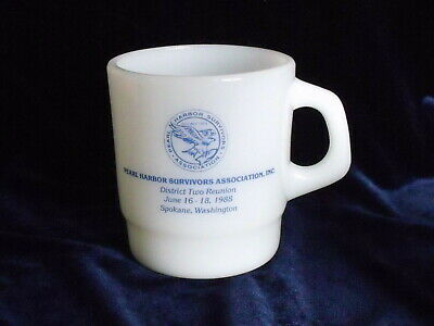Pearl Harbor Survivors Assoc. Militaria Galaxy Milk Glass Coffee Mug Cup