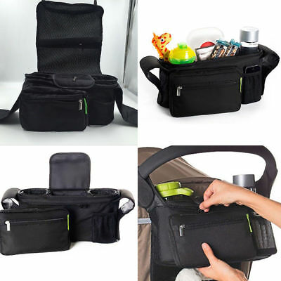 Kids Baby Stroller Pram Organiser Tray Hanging Bag/Cup Holder Accessory BLack