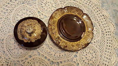Vintage Evangeline Canada Pottery Butter Dish 946 Brown Drip