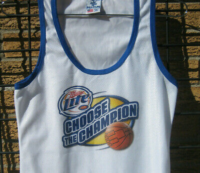 Ladies MILLER LITE Top BASKETBALL Tourney White MD shirt (M) beer top beach