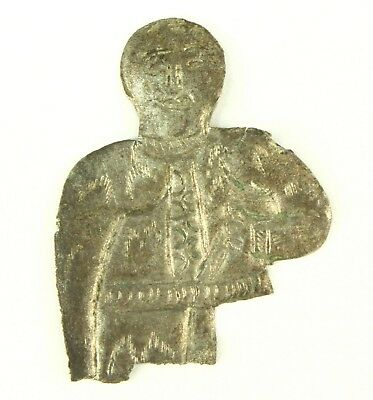 ! AUTHENTIC 1000 A.D. Medieval Tooled Silver VIKING Figure Amulet of God/Warrior