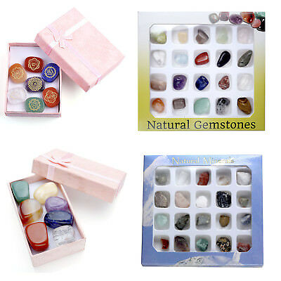 7/20 PCS Mini Tumbled Gemstone Carved Chakras Polished Stone Display Collection