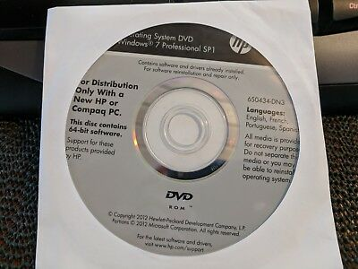 HP Windows 7 Pro 64Bit OS Restore Recovery OEM DVD Disc NEW No Product Key