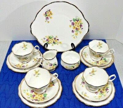 LOT of 15 pc Cups, Saucers, Plates: Royal Albert unnamed pattern like Primulette