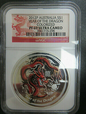 2012 P Australia Year Of The Dragon Colorized Silver NGC PF69 Ultra Cameo