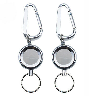 2Pcs 20inches Recoil Extendable Wire Key Chain Ring Clip Pull Keyring Retracting