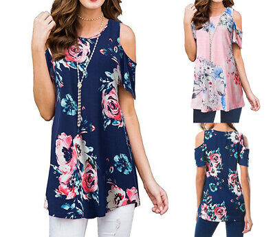 RED WHITE FLORAL PUFF SCREEN PRINTED BELL COLD SHOULDER TUNIC SHIRT USA S M L XL