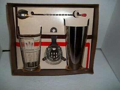 Vintage Cocktail Bartender Mixing Drink Retro Barware Set Glass Chrome 1960s