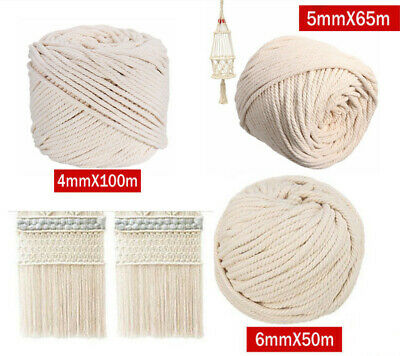 2pcs Macrame Rope Natural Beige Cotton Twisted Cord Artisan New Hand Craft 65m