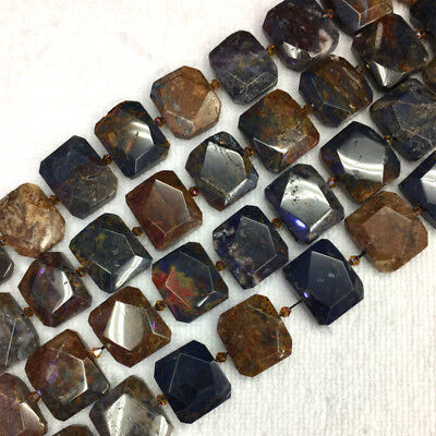 Natural Genuine Red Brown Blue Pietersite Stone Hand Cut Faceted Flat Rectangle