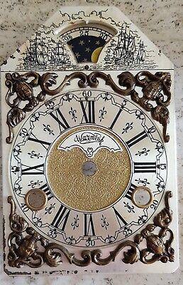 Warmink Mantel Clock Dial Shelf Clock Dutch Moon Dial  Vintage