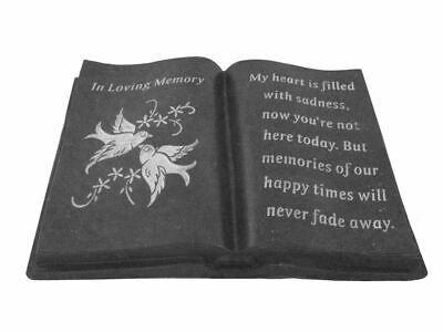 Slate Grey In Loving Memory Memorial Dove Book Stone Plaque Ornament Graveside