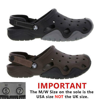 ea90f912c748 Crocs Swiftwater Clog Mens Black Brown Slip On Sandals Shoes Size 7-12