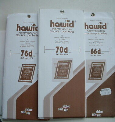 NEW HAWID BLACK STAMP MOUNT STRIPS various sizes  210mm long Pack of 10
