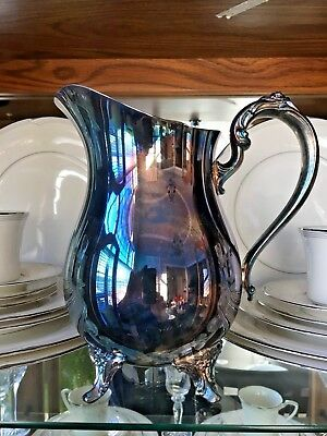 "Vintage 8.5"" Oneida Silver-Plated Footed Water Pitcher Jug With Ice Lip NIBVinta"