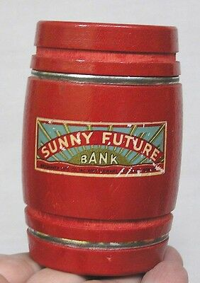 Vintage Figural Wood Barrel Bank Sunny Future Painted Red