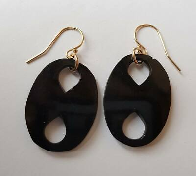Antique Victorian Large Rolled Gold Whitby Jet Earrings