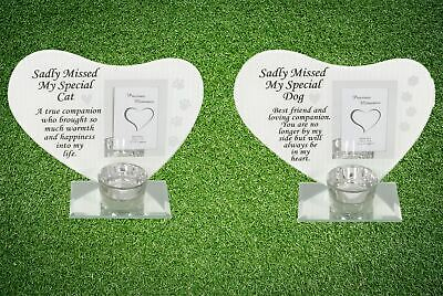 Dog Cat Heart Memorial Glass Photo Plaque Tea Light Candle Holder Tribute