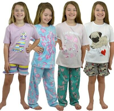 Girls Lightweight Pyjama sets - Mermaid Unicorn Cat Pug Sea Horse Age 7-13yrs