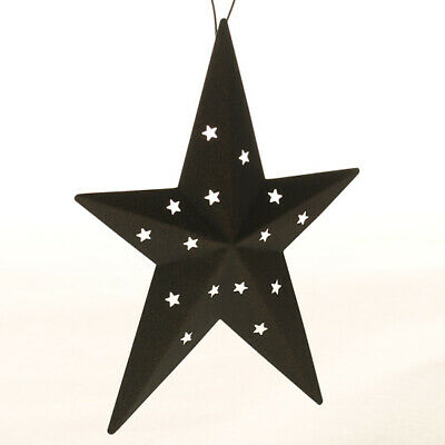 Set of 6 Antiqued, Rusted Primitive Metal Star Ornaments with Tiny Star Cutouts