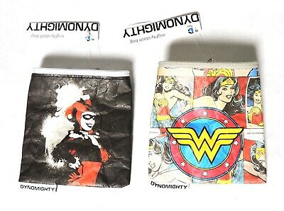 A0089 Lot of 2: DC Stash Bags by Dynomighty 1 Harely Quinn,1 Wonder Woman (2015)