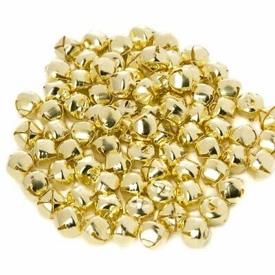 Package of 160 Shiny Gold Jingle Bells for Embellishing and Decorating