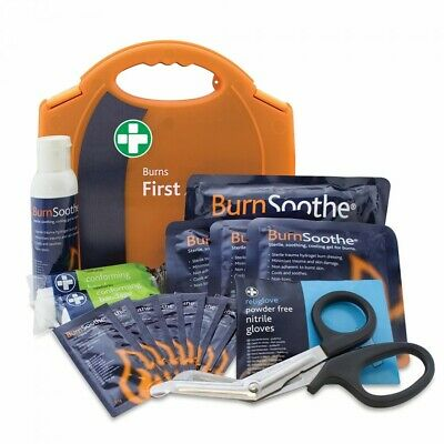 Burns First Aid Kit Carry Case Small Office Kitchen Dressings Gel Eye Wash Tape