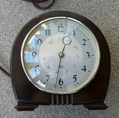 Small Smiths Vintage Art Deco Style Bakelite Electric Clock. Working Condition