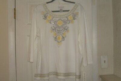 a20b22b1bb Alfred Dunner Misses Size Large Top Floral Native New Yorker White New With  Tags