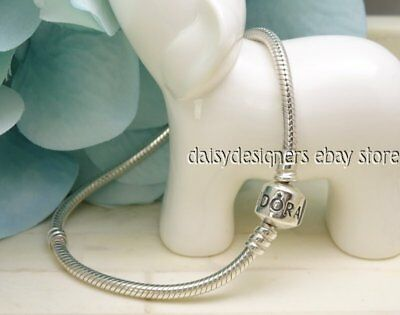 Authentic Pandora Sterling Silver BARREL CLASP Charm BRACELET 7.9 20cm