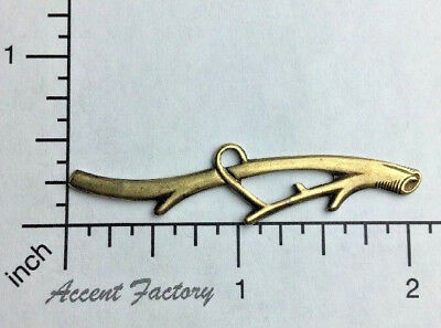 Oxidized Brass Plated Log w//Twig Jewelry Finding Stamping 33193
