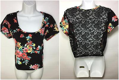 New LARGE BLK/PINK FLORAL OPEN LACE FISHNET BACK CROP TOP STRETCHY WOMENS SHIRT