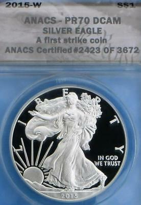 2015 W ANACS Proof 70 Deep Cameo Silver Eagle Dollar, First Strike Coin