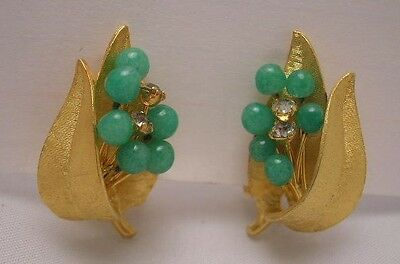 Old Vintage Estate Costume Jewelry Green Stone Clip On Earrings