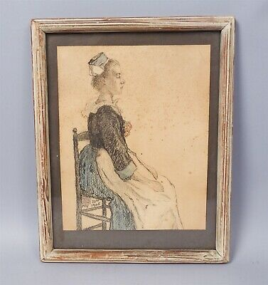 Graphite Watercolor Painting of Seated Woman Braton Signed JHR 1905