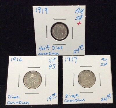 Canada Sterling Silver 5 Cent & 10 Cent-3 Coin Lot (1916, 1917 1919)