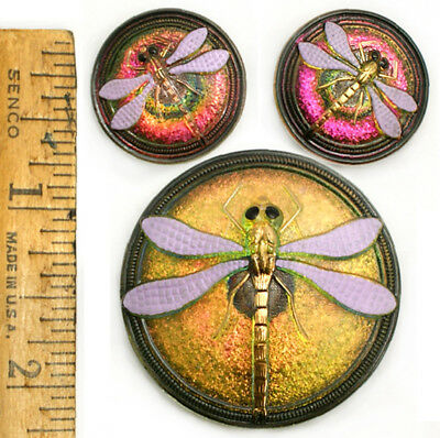 42mm 22mm Vintage Czech Glass Purple + FIRE AB FLASH DRAGONFLY Buttons 3pc SET