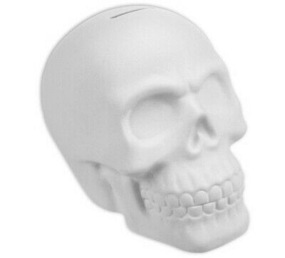 Skull Bank Ready to Paint, Unpainted, You Paint Ceramic Bisque