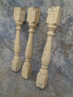 3 Balusters Tan Wood Architectural Salvage Spindles Porch Post House Trim g