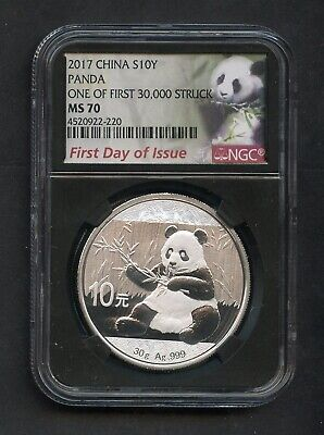 2017 CHina S10Y Silver Panda First Day of Issue NGC MS70