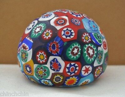 Extraordinary MURANO Millefiori Art Glass PAPERWEIGHT Matte COLORS has 2 LABELS