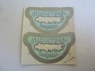 Pair of 2 Uncut Old Antique c.1880's - MINIATURE CORDIALS - Liquor LABELS