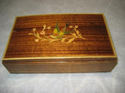 Vintage Marquetry Inlay Inlaid Birds Wood Reuge Jewelry Trinket Swiss Music Box